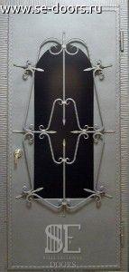 Металлическая дверь стеклопакет кованая решетка