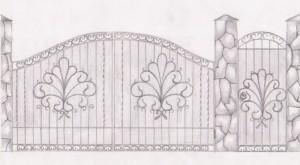 Кованые ворота эскиз